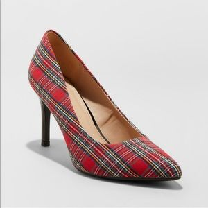 NWOT A New Day Plaid Pointed Toe Heels 8.5